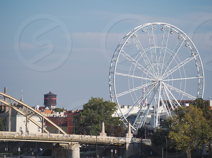 Ferris Wheel at Kossuth Bridge on a Sunny Autumn Day in Győr Hungary photo