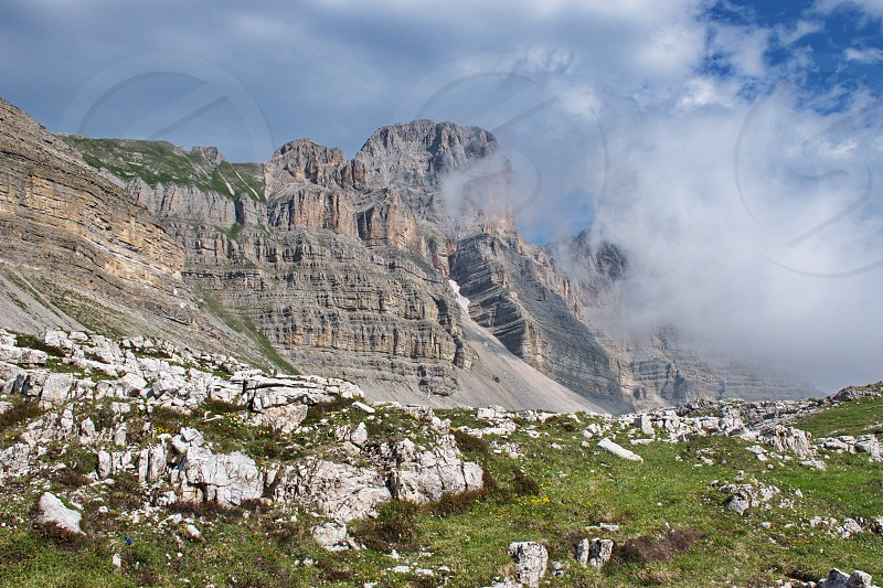 Scenic landscape of Dolomites mountains in Italy. Brenta Dolomites and it's rocky environment photo