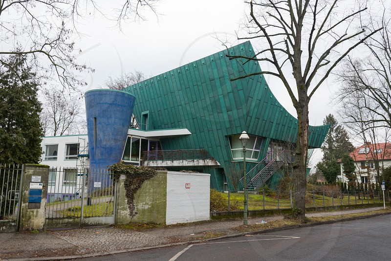 Strange building of Freie Universtitat inside Dahlem Neighborhood in Berlin Germany photo