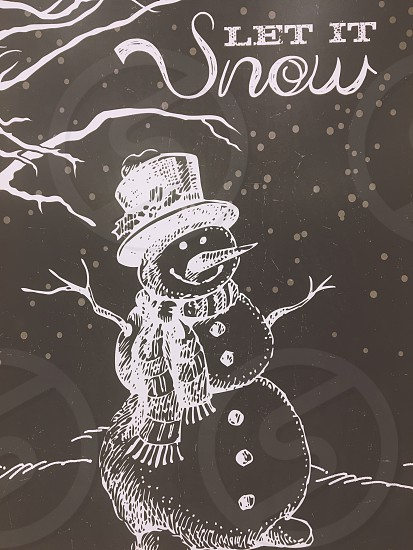 Snowman chalk chalkboard drawing  photo