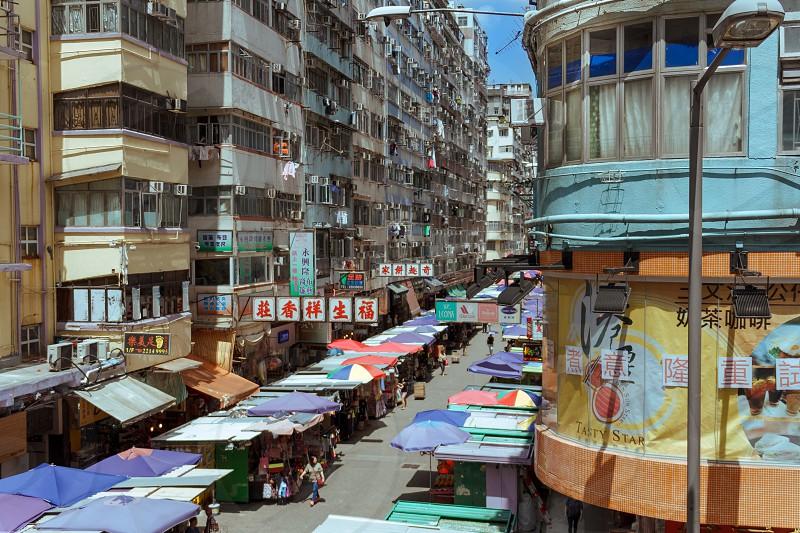 Side street market in Mongkok Hongkong photo