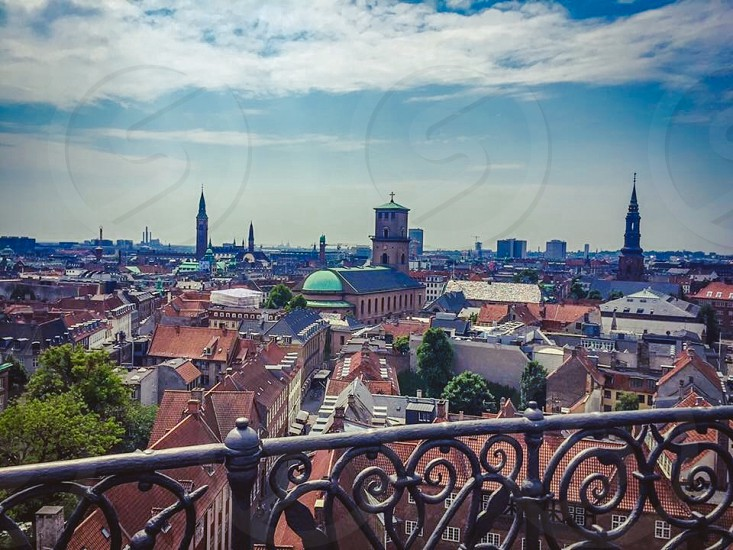 Outdoor day horizontal Copenhagen Denmark view vista scenic city colour roof rooftops terracotta photo