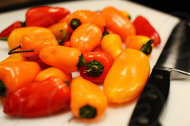 Orange red peppers spicy photo
