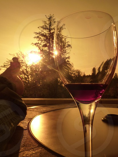 evening wine on the back patio photo