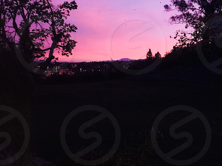 Pink sunrise over the valley. photo
