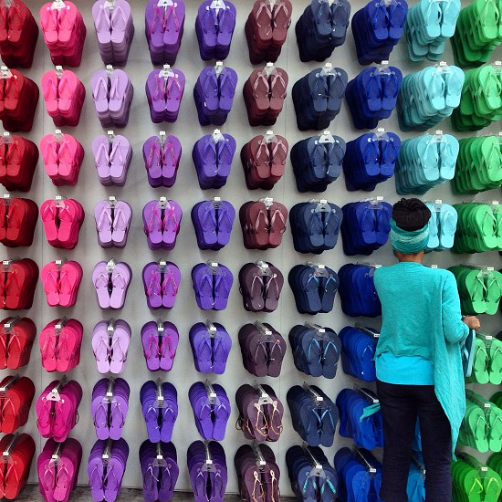 Colourful rainbow of Havaianas in São Paulo photo