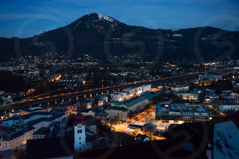 Panoramic view from Salzburg Fortress at sunset in Austria photo