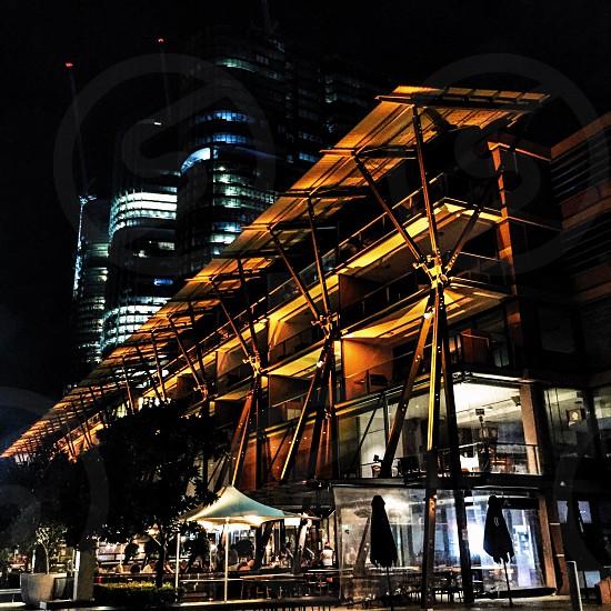 Facade of a building at night photo