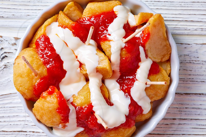 Bravas potatoes pinchos tapas from Spain recipes pintxos photo