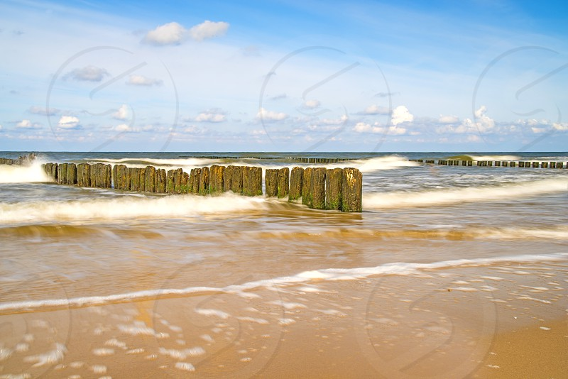 surf of the Baltic sea in long time exposure photo