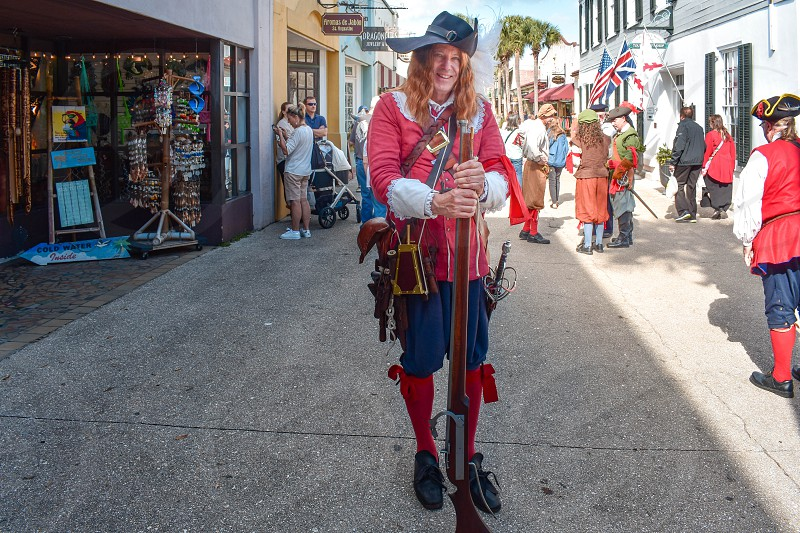 St. Augustine Florida. January 26  2019. Man dressed as a 17th century Spanish soldier in Florida Historic Coast. photo