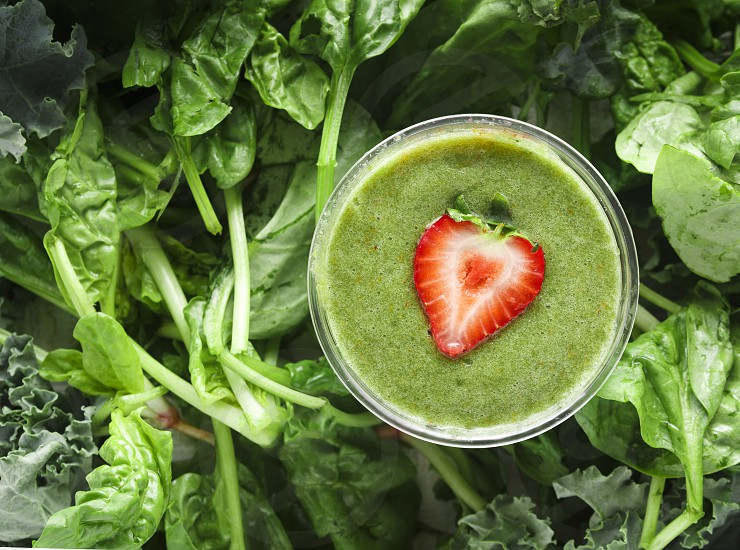 Green Smoothie with Kale and Spinach photo
