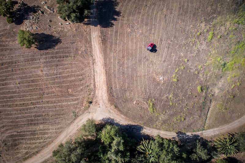 A red jeep going off the beaten path in an aerial photo. Adventure off road rebel dirt trees grass. photo