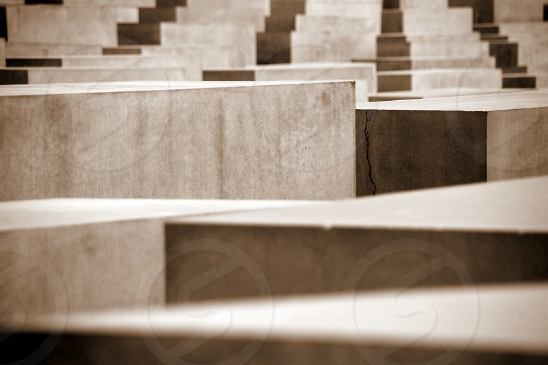 concrete memorial to the murdered jews of europe in berlin photo