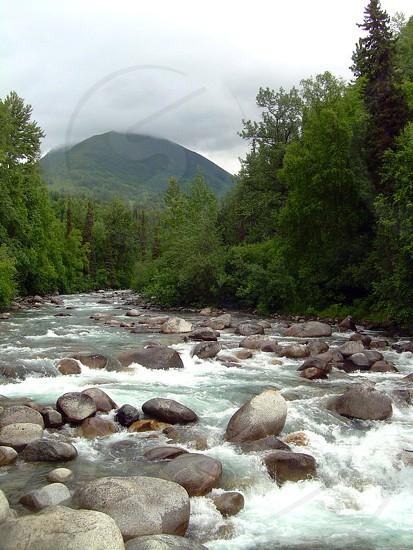 river water water rapids rocks stones mountains green nature Alaska photo