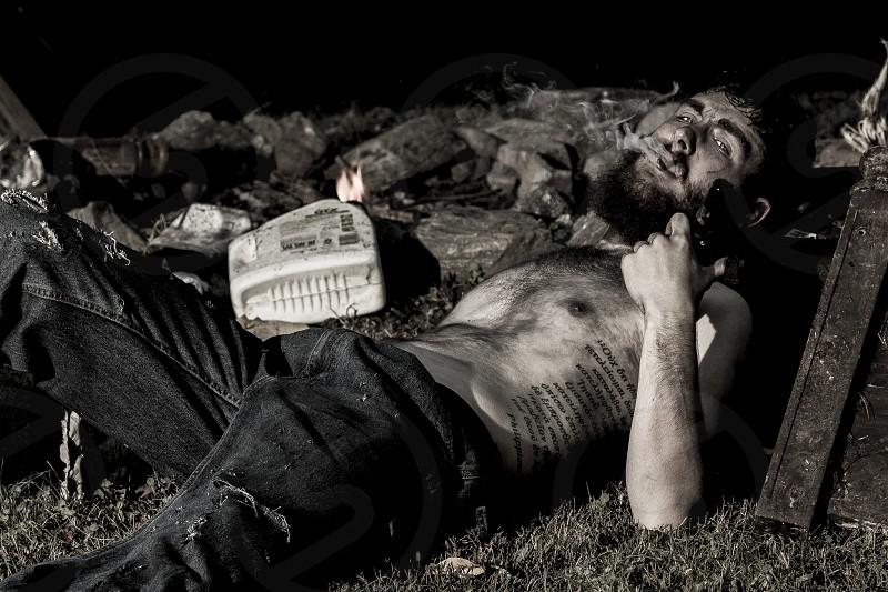 North Carolina Mountains Looking Homeless Smoking Trash Portrait Mountain Man photo