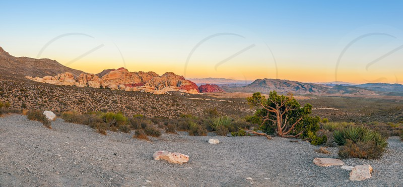 Panoramic view from High Point Overlook. Red Rock Canyon National Conservation Area. Nevada. USA  photo