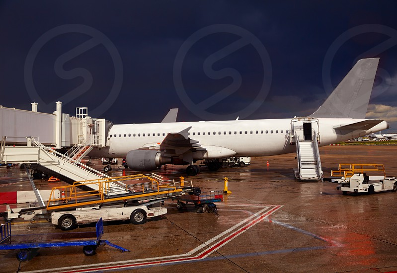 Airport detail in a stormy evening with dark sky photo