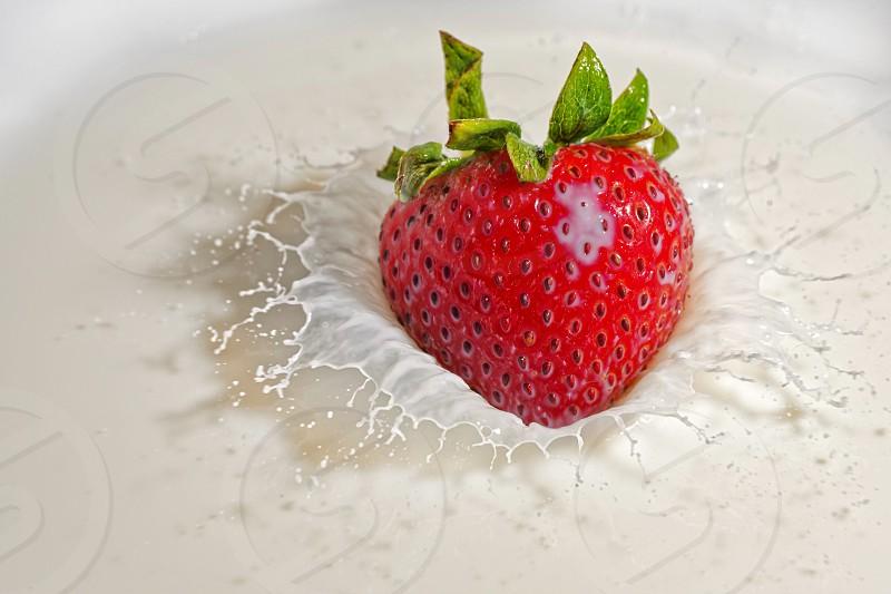 strawberrymilksplashactionpurewhitecreamfreshgreenred photo