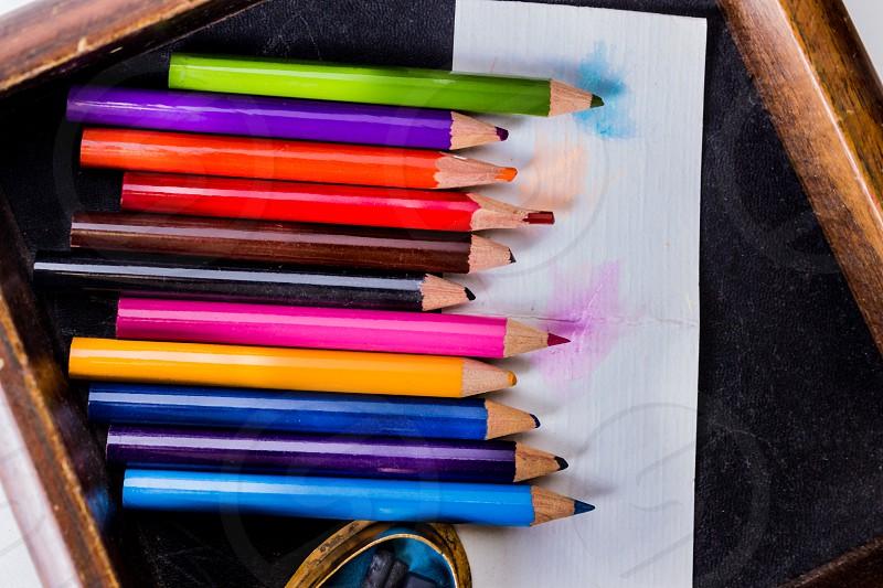 Vibrant vintage color pencils chalk school drawings  photo
