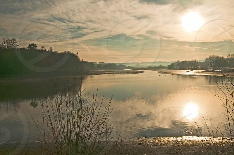 lake at sunrise photo