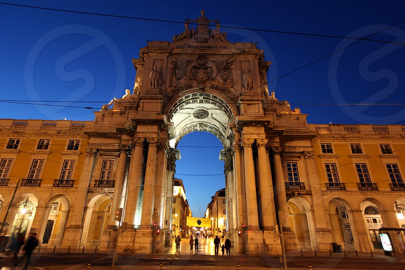 the parca do comercio in the city centre of Lisbon in Portugal in Europe. photo