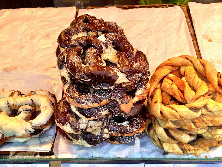 Fresh bread pretzels at a food market  photo