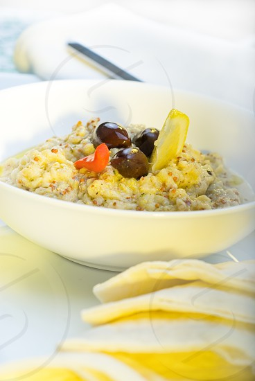 fresh homemade Badingian mutabbal Baba Ghanoushtraditional middle eastern dish photo