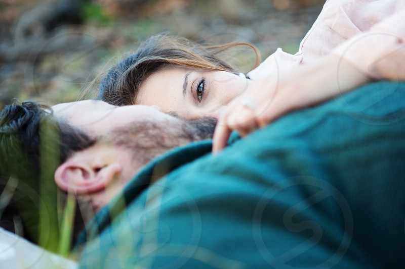 couple love hug comfortable smile eyes tender intimate smile happy female woman girl lady cuddle hug photo