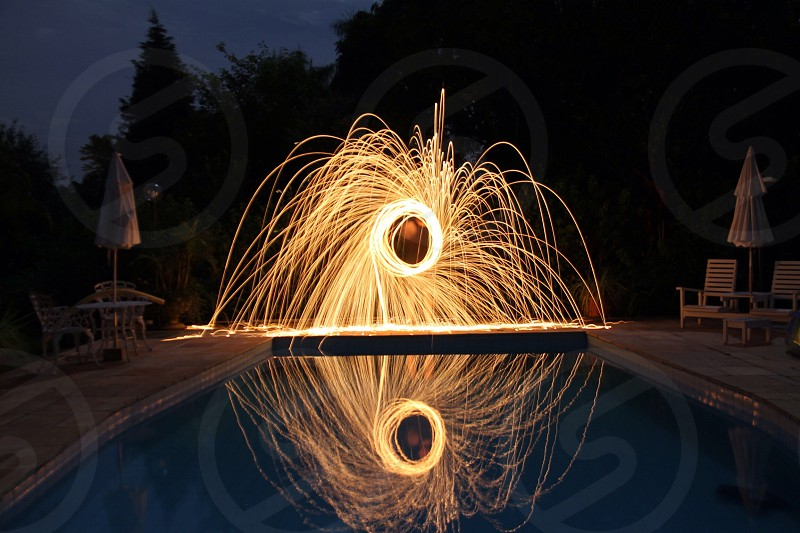 fireworks near pool photo