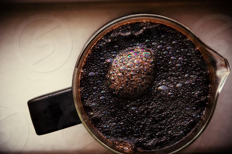 Coffee brewing in a cafétière. photo