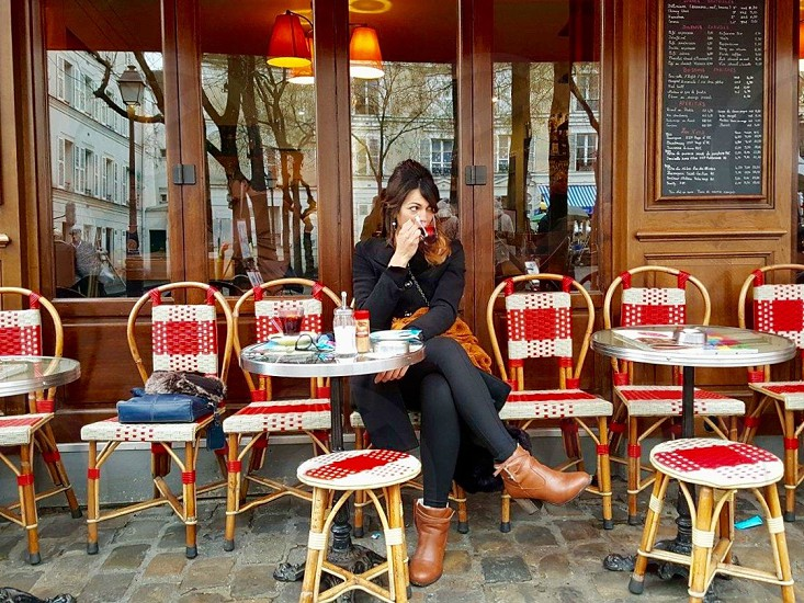 Self Portrait. Mulled wine at a parisian cafe.   photo