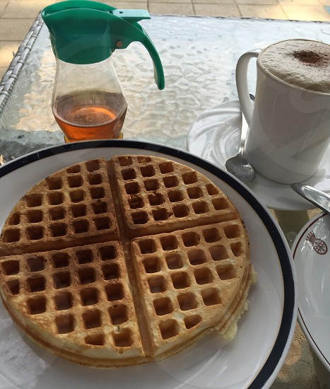Waffle syrup honey breakfast brunch photo