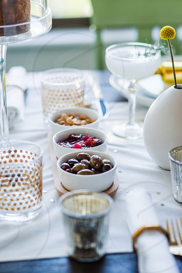 tableware food dinner party cocktails appetizers table set fancy photo