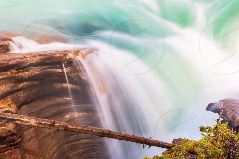 Close-up view of Athabasca Falls in Jasper National Park. Alberta. Canada photo