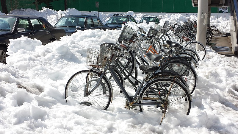 Japan Winter Snow Bicycle parking photo