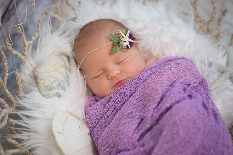Baby infant newbornmermaid  summer precious photography purple child daughter photo