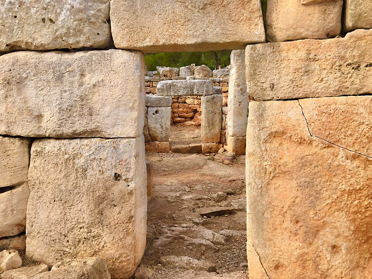 Rocks minorca taulas megalithic photo