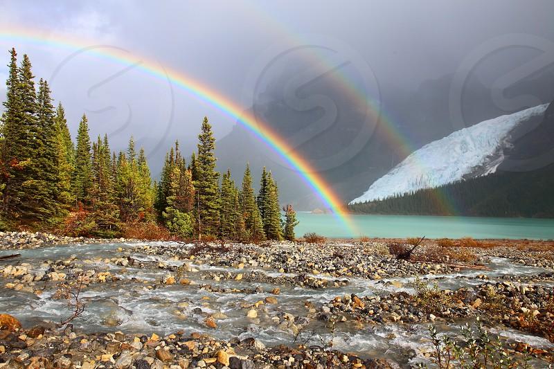Double rainbow over Berg Lake below Mount Robson. photo