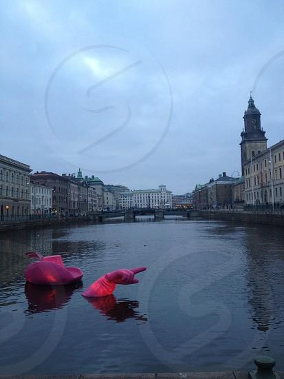 purple figure in water photo
