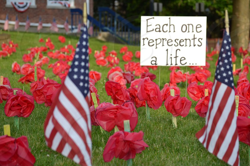 each one represents a life sign with american flag photo
