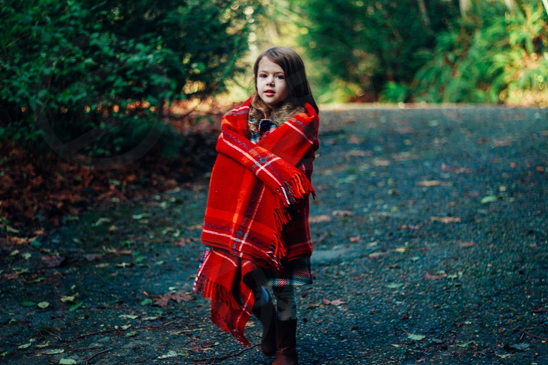 Hike in a cozy plaid blanket  photo