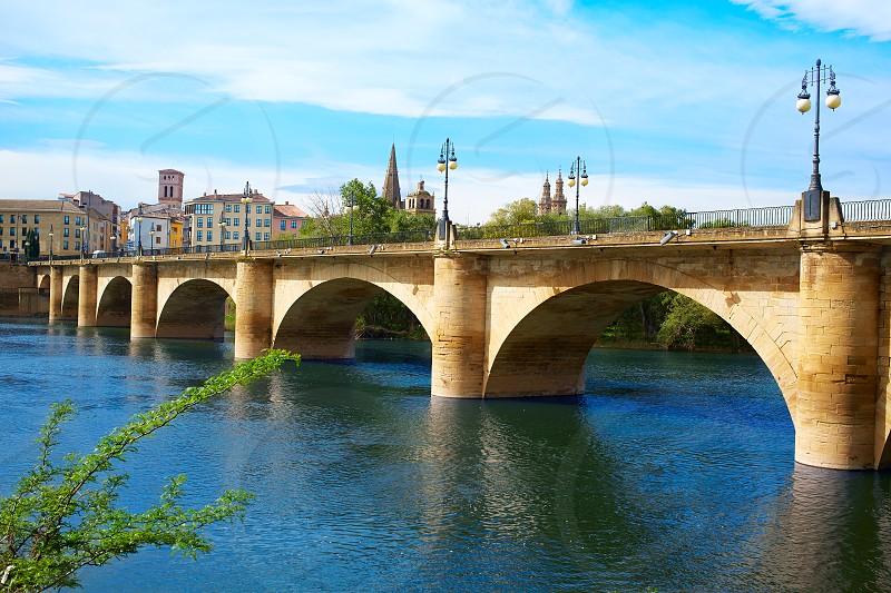 The Way of Saint James in Logrono bridge Ebro river at Spain photo