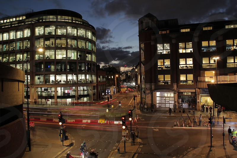 Barbican Station area in the evening photo