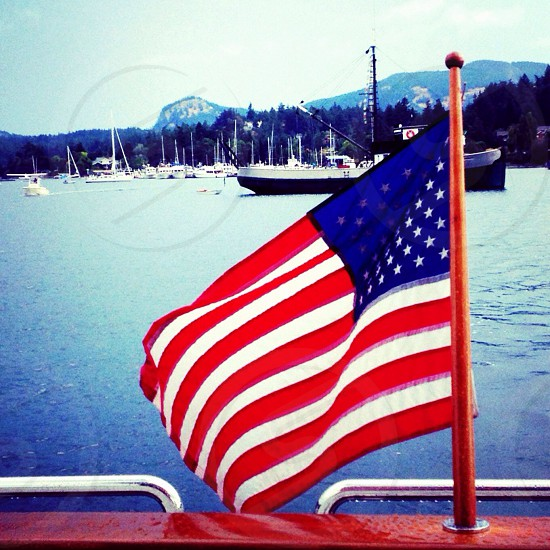 Our flag bringing light and hope to a gloomy day in northern Washington. photo