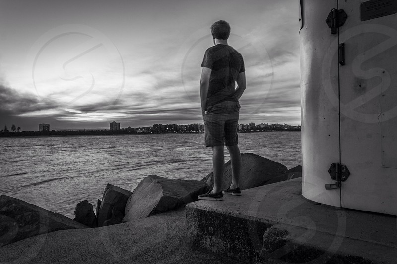 Frozen in time black and white City surreal sunset contemplation photo