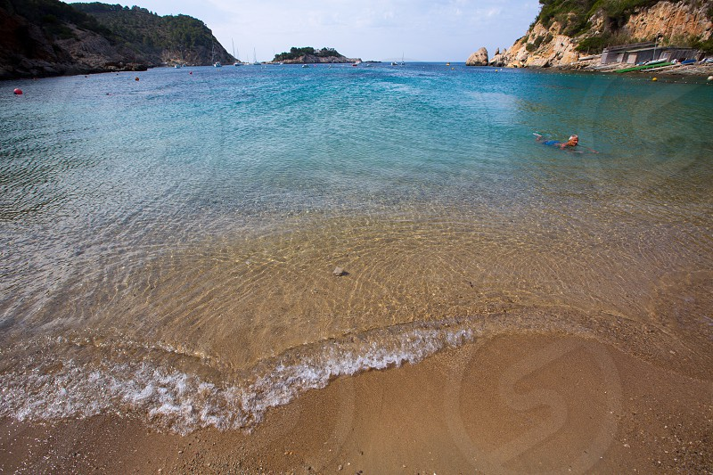 ibiza Port de Sant Miquel San Miguel beach in Balearic islands Spain photo