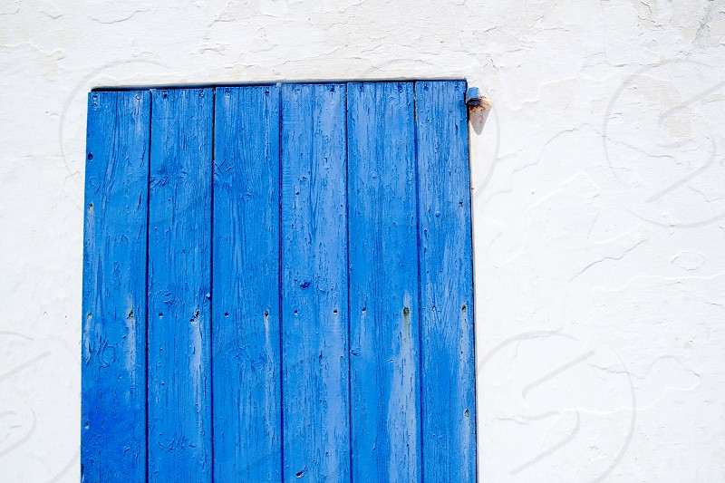 Es calo escalo Formentera white balearic architecture detail of blue wooden door photo