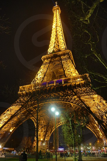 Paris Eiffel Tower night city of lights photo