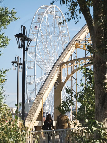 Ferris Wheel and Kossuth Bridge on a Sunny Autumn Day in Győr Hungary photo